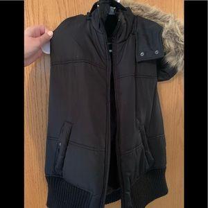 Express black vest with fur detail on hood